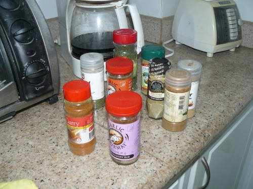 Only a few of Mary's Spice Stash we had to move to reach the hidden Marjoram!