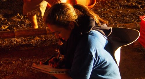 Ximena working during a night shrimp harvest...